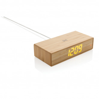 Bamboo alarm clock with 5W wireless charger