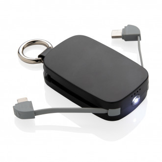 1.200 mAh Keychain Powerbank with integrated cables