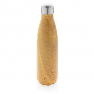Vacuum insulated ss bottle with wood print