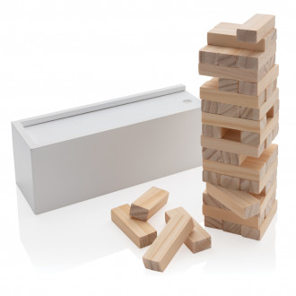 Deluxe tumbling tower wood block stacking game